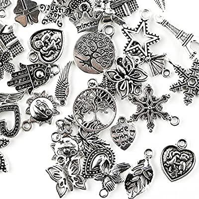 TKOnline 200Pcs Wholesale Bulk Smooth Tibetan Silver Pewter Charms Mixed Pendants DIY for Necklace Bracelet Jewelry Making and Crafting Pendants for Jewelry Making,Bulk Charms for Jewelry Making