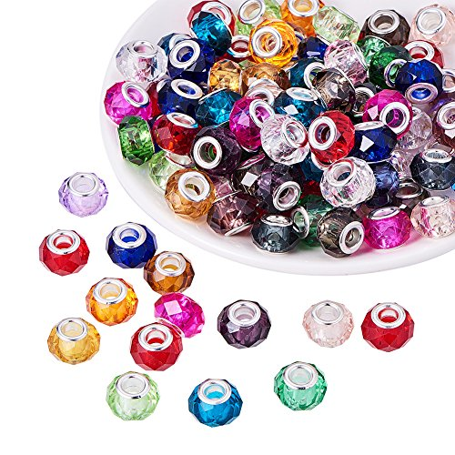 PH Pandahall 100pcs 14mm Glass European Beads with Plating Silver Double Cores Mixed Color Faceted Rondelle Beads Large Hole Beads for Jewelry Making, Hole: 5.5mm