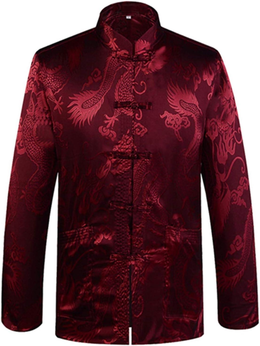 Designer Chinese Traditional Men's Satin Mandarin Collar Dragon Silk Tang Suit Clothing Kung Fu Jacket Coat (Color : A Burgundy, Size : L 170)