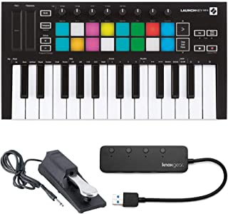 $129 » Novation Launchkey Mini MK3 25 Mini-Key MIDI Keyboard with Sustain Pedal and Knox 4 Port 3.0 USB Hub (3 Items)
