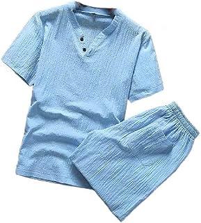 MogogN Men's Big & Tall Half Pants 2-Piece V Neck Shirts Top Palazzo Pant