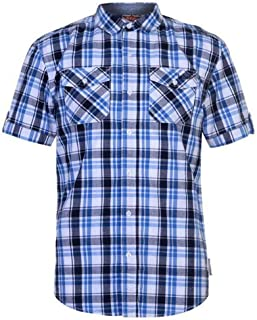 Lee Cooper Mens S/S Checked Shirt - Black/White/Red