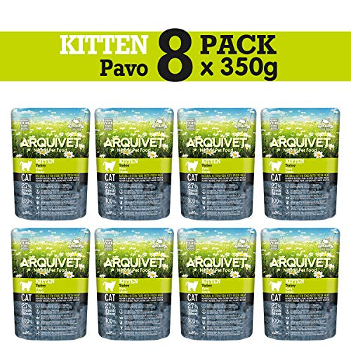ARQUIVET - Pack 8 Bolsas Pienso de Pavo para Gatitos de 2 a 12 Meses - Pienso para Gatos - Kitten - Comida para Gatos pequeños - Alimentos para Gatos - Cantidad: 2800 gr (350 gr x 8 Unidades)