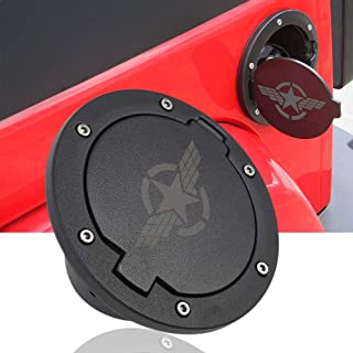 JeCar Gas Cap Cover Gas Tank Fuel Tank Cover for 2007-2017 JeCar Jeep Wrangler JK & Unlimited 2/4 Doors (Star Style1)