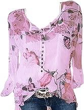 Seaintheson Sexy Women's Tops, Women Casual Chiffon Irregular Hem Top Floral Printed Button T-Shirt Blouse Tee