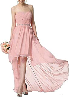164ef6446b2 RONGKIM Womens Sweetheart Chiffon Bridesmaid Dresses High Low Beading Belt Formal  Gowns with Pleat