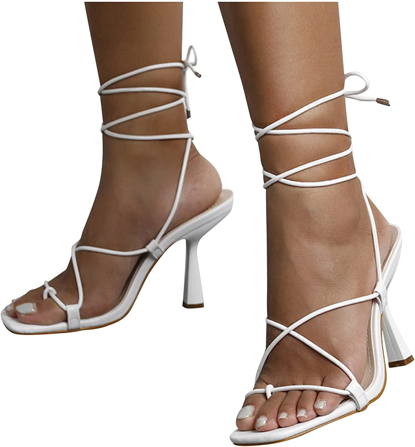 siilsaa Strappy Sandals for Women Heels Square Animer and price revision Toe Up Sanda Lace Inexpensive