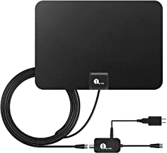 1byone Indoor Amplified HDTV Antenna [2019 Newest] with Long Range Support 4K 1080P & All Older TV's Indoor Powerful HDTV Amplifier Signal Booster, Paper-Thin Design with 16.5ft Coax Cable