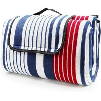 tappeto in pile 200 x 150 cm con cinturino in PU e lato posteriore impermeabile HappyPicnic coperta da picnic extra large tappetino da viaggio per famiglie allaperto
