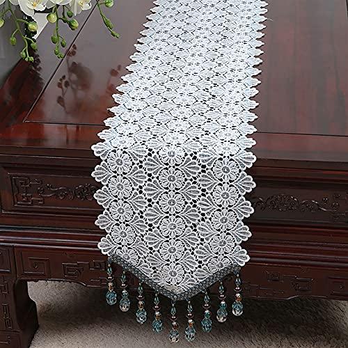 Runner Corredores de Mesa Simples Hechos a Mano Bordado Elegante de lino de lino de encaje blanco Bordado Elegante de tablero pequeño Tabla de mesa de mesa Decoración para decoraciones navideñas Festi