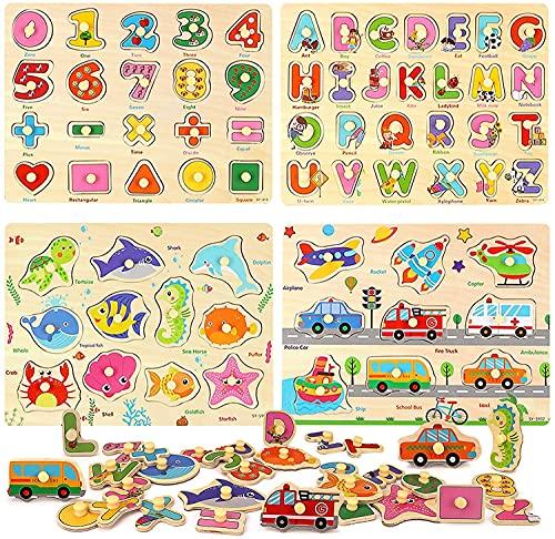 kramow 4 Piezas Puzzle de Madera Letras,Número,Vehículo y Animales,Juguetes Educativos Rompecabezas de Clavijas de Madera para 1 2 3 + Años Niños Niñas