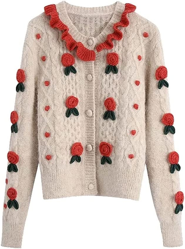 AAKKY Women's Fashion with Floral Details Knitted Sweaters Vintage Long-Sleeved Women Outside The Clothes (Color : Beige, Size : L Code)