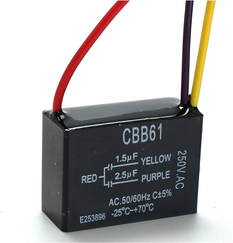 HONGYMY Condensadores 1pc Black Fan Capacitor CBB61 1.5UF + 2.5UF 3 Cables AC 250V 50 / 60Hz Capacitor para Ventilador de Techo