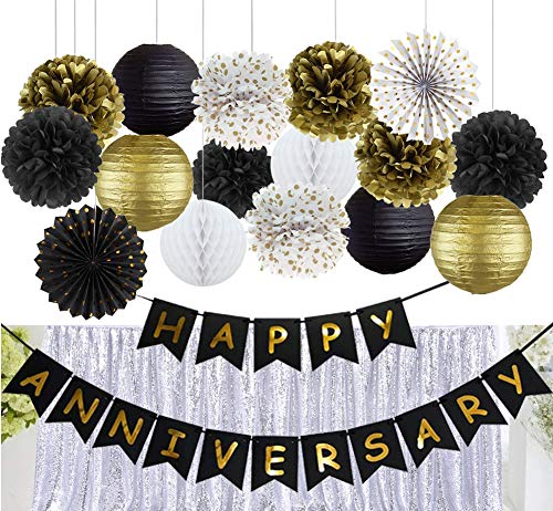 Kubert Happy Anniversary Party Decorations Happy Anniversary Banner Tissue Paper Pom Poms Flowers Paper Lanterns Hanging Paper Fans for Black Gold Wedding Anniversary Party Birthday Anniversary Party