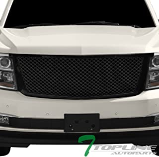 Topline Autopart Glossy Black Mesh Front Hood Bumper Grill Grille ABS For 15-18 Chevy Tahoe/Suburban