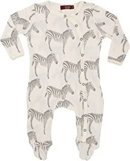 Organic Cotton Footed Romper Grey Zebra