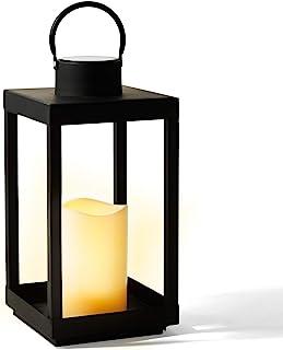 Solar Candle Holder Lantern - 14 Inch Tall, Matte Black Metal Frame, Waterproof Flameless Pillar Candle, Dusk to Dawn Time...