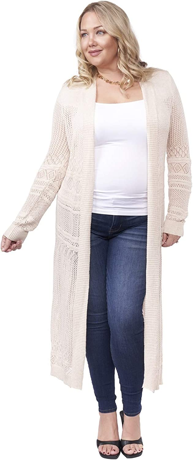 Belldini Womens Plus Pointelle Long Sleeves Cardigan Sweater