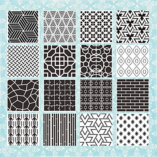 16 Pieces Sacred Creative Geometric Stencils, 7.9Inch Honeycomb Totem Drawing Stencil Art Painting Templates for Scrapbooking Tracing Wall Wood Paper Floor DIY Crafts Gift Furniture Home Décor