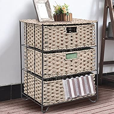 Giantex Storage Organizer with 3 Drawers Shelf Metal Frame Cabinet For Bedroom, Office & Living Room, Sea Grass