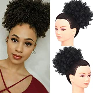LEOSA High Puff Afro Ponytail Drawstring Short Afro Kinky Curly Pony Tail Clip in on Synthetic Curly Hair Bun Made of Kanekalon Fiber Puff Ponytail Wrap Updo Hair Extensions with Clips (BLACK 1B)
