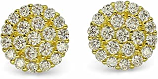 9mm Cluster 14k or Silver Tone Cz Bling Screw Back Hip Hop Round Stud Earrings