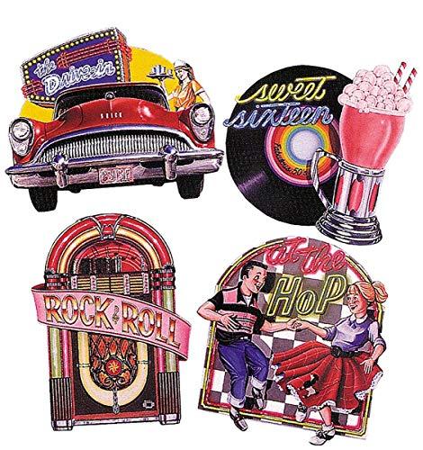 Beistle Fabulous 50er Jahre Schilder Rock & Roll Wanddekoration, Sockenhop-Party-Zubehör, 35,6 cm – 41,9 cm, mehrfarbig