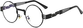 Dollger - Gafas de sol Steampunk Retro estilo John Lennon para mujeres y hombres, gafas redondas Hippie UV400 con protección, lentes planas con montura metálica