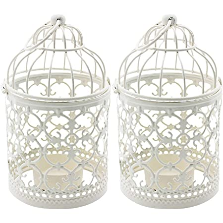 6 x Vintage White Round Metal Bird Cage Candle Holder Wedding Table Centrepiece