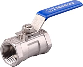 Stainless Steel 1PC Ball Valve with Blue Vinyl Handle Female to Female Standard Port for Water Oil and Gas PTFE Seal 3/4