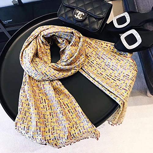 CAXVYK 2019 small fragrant wild wind knit scarves fashion shawls National Wind colored scarves scarf female small cells CAXVYK (Color : Turmeric+gray, Size : 190X70CM)