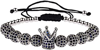 Luxurious Men/'s Blue Zircon King Crown Bracelets Weaving Elastic Bracelets Gift