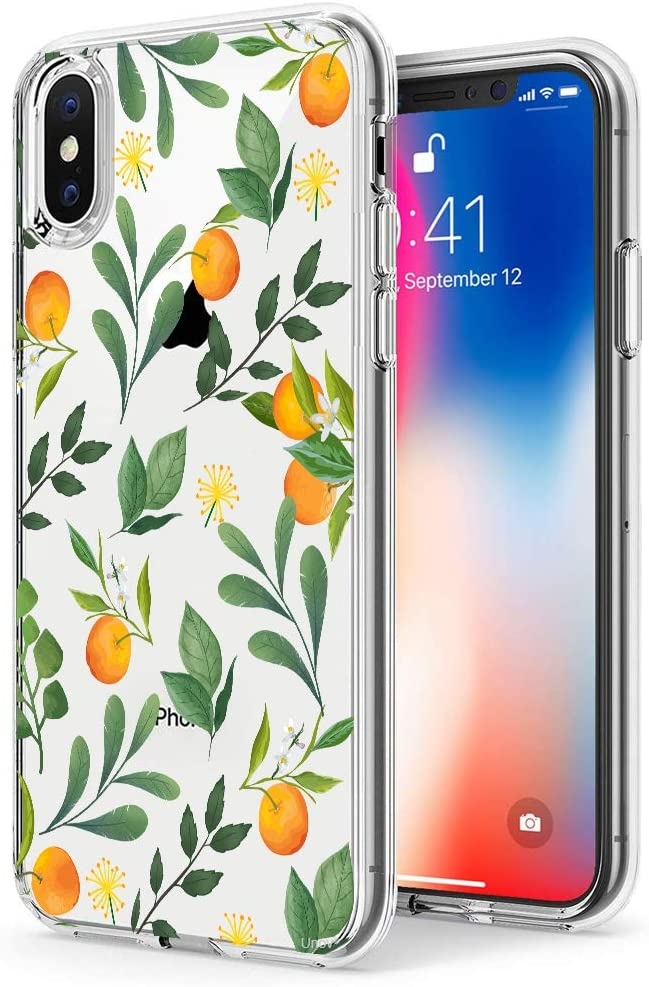 Unov Case Compatible with iPhone Xs Max Case Clear with Design Slim Protective Soft TPU Bumper Embossed Pattern Protective 6.5 Inch (Citrus Flavors)