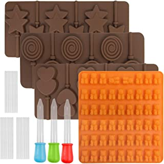 4 pcs Lollipop Mold Jelly Mold, FineGood Silicone Chocolate Candy Gumdrop Cookie Baking Mould Ice Cube Trays Pan Craft Mol...