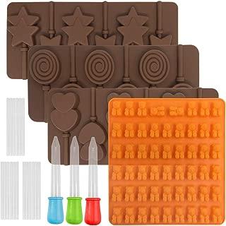 FineGood Molde para piruletas, 4 unidades, molde para gelatina, molde de silicona para chocolate, chocolate, golosinas, galletas, cubitos de hielo, bandejas, molde para manualidades, con 3 cuentagotas