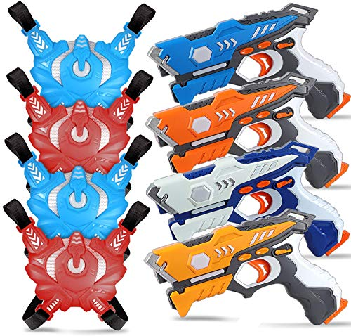 POKONBOY 4 Sets Laser Tag – Infrared Laser Tag Guns with Vests for 4 Players Indoor Outdoor Games for Kids, Adults, and Family
