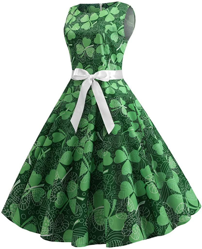 Maheegu Women St Patricks Day Tea Dress Sleeveless Belt Fashion Print Vintage Prom Ball Gown Skirt Rockabilly Party Cocktail Dresses