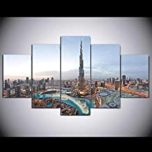 HD Print Painting Picture Home Decor 5 Panel Dubai Architecture City View Modern Living Room Wall Art Poster Frame