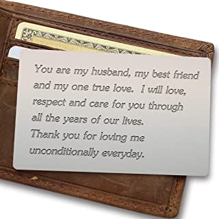 Engraved Wallet Insert for Husband, Gifts for Husband Birthday, Husband Anniversary Gifts