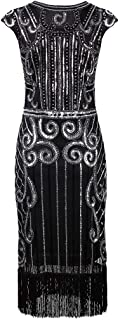 TS Women's Vintage 1920s Gold Sheath Jewel Neck Satin Cocktail Party Dress with Sequin Pleats