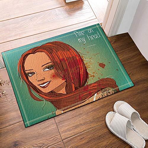 ottbrn Cartoon Meisjes in lichtgroen vuur op kop badmat antislip vloeringangen Outdoor Indoor huisdeur mat, 60x40cm badmat bad tapijten