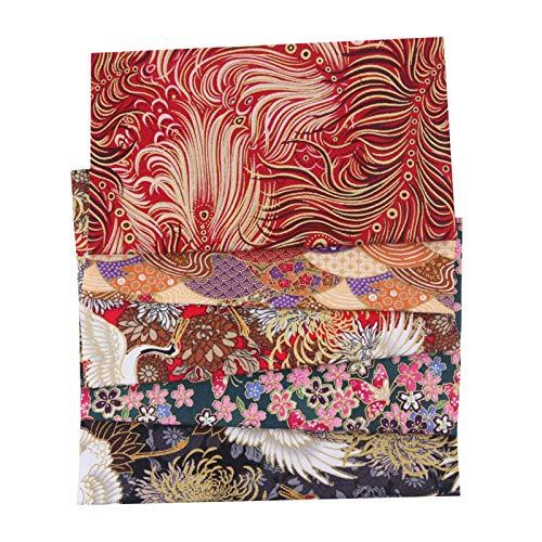 5 piezas de tela floral Patchwork DIY tela de algodón estilo japonés para bricolaje, costura, scrapbooking, artesanía, bolsas de almohada 50 x 50 cm
