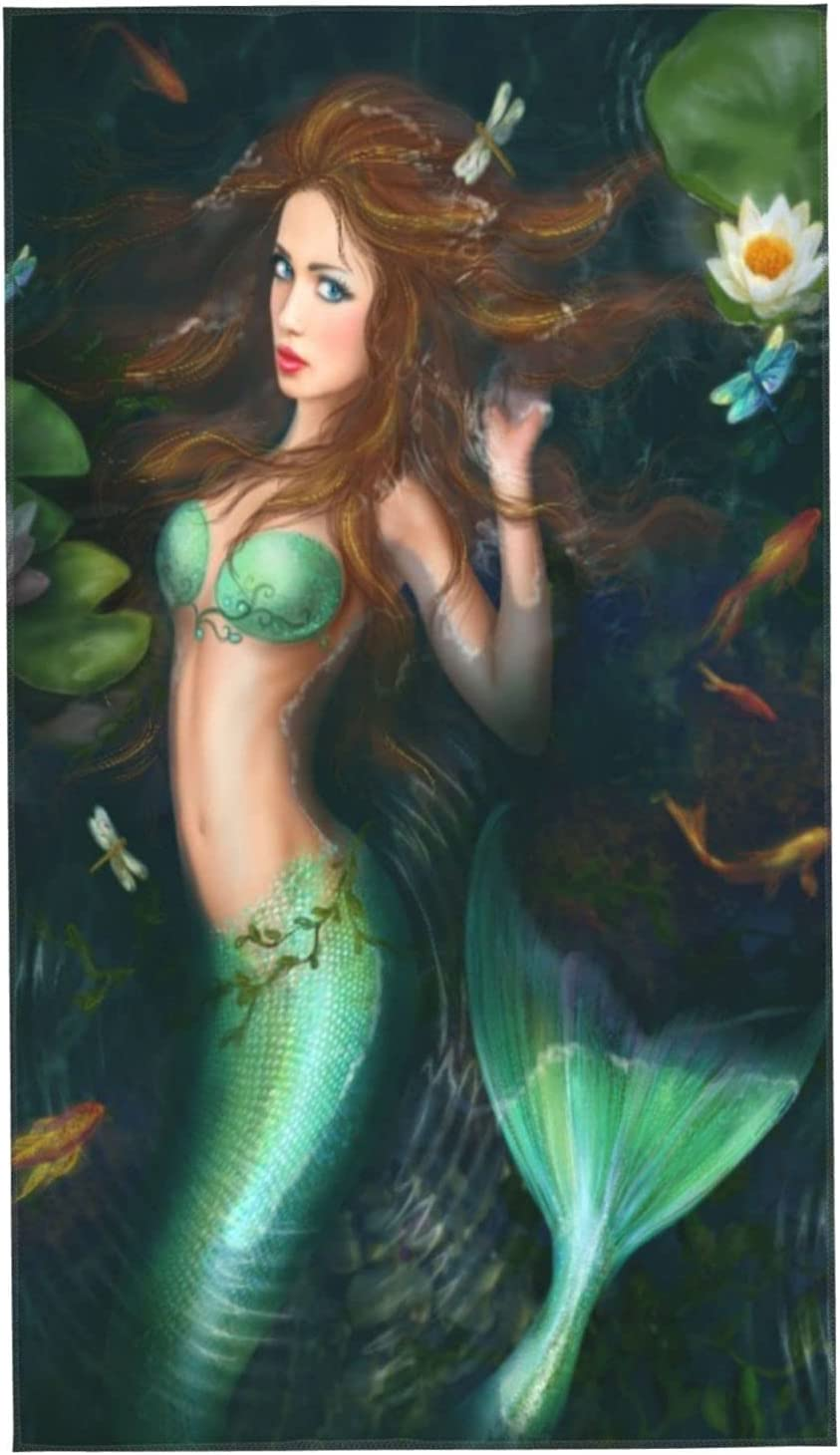 KENADVI Now free shipping Hand Towels Ocean Max 82% OFF Fantasy and Water Lily Dragonfly Girl
