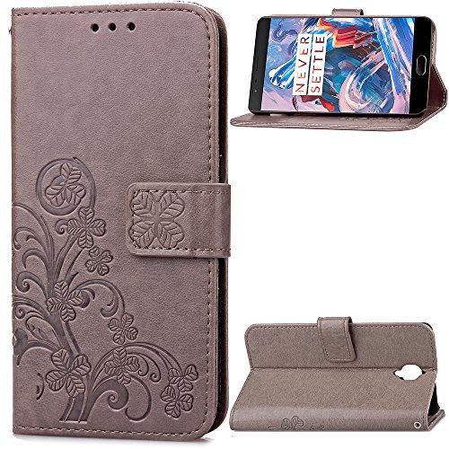 Tosim OnePlus 3T / OnePlus 3 Hülle Klappbar Leder, Brieftasche Handyhülle Klapphülle mit Kartenhalter Stossfest Lederhülle für OnePlus3T / OnePlus3 - TOSDA041450 Grau