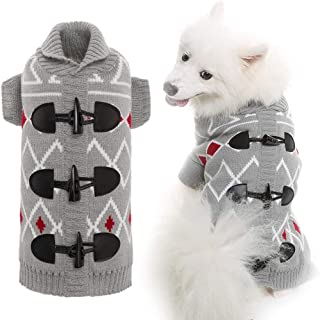 KOOLTAIL Horn Button Dog Sweater for Small to Large Dogs Cute Pet Clothes for Puppy Grey