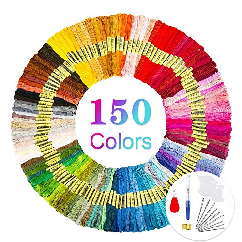 opamoo Stickgarn, Embroidery Floss 150 Farben Weicher Baumwolle Kreuzstich set Stickerei Perfekt für Bracelets Stickerei Basteln Crafts Set Leisure Arts Kreuzstich 8m 6-fädig Threads Nähgarne