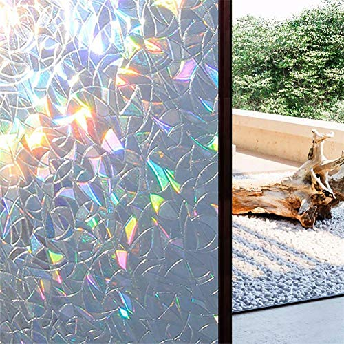 Mintiml 3D No Glue Static Decorative Privacy Window Rainbow Films for Stained Glass Self-Adhesive Film Anti UV Glass Sticker 2PCS