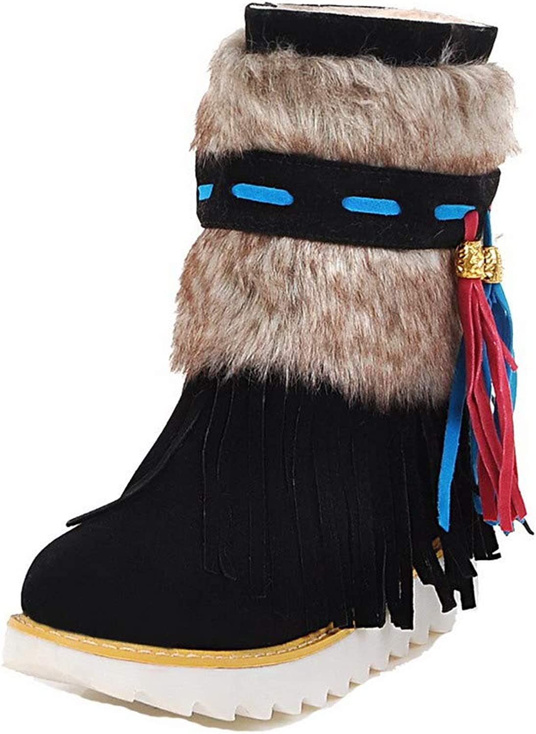 AllhqFashion Women's Round-Toe Low-Heels Frosted Low-Top Assorted color Boots, FBUXD128520