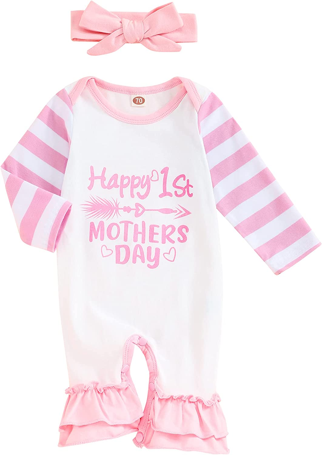 Happy Mother's Day Outfits Newborn Baby Boy Girl Clothes Romper Bodysuit Stripe Sleeves and Headband Outfits Set 2Pcs