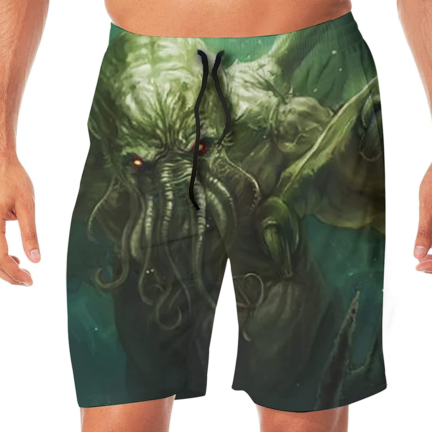 PEKIVIDE Men's Cthulhu Monster Mythos Puzzle Dragons Swim Trunks Quick Dry Board Shorts Swim with Pockets Beach Bathing Suits